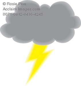 Royalty Free Clipart Illustration of a Storm Cloud With Lightning.