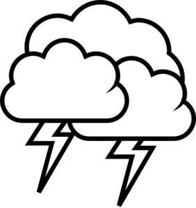 Lightning Cloud Black And White Clipart.