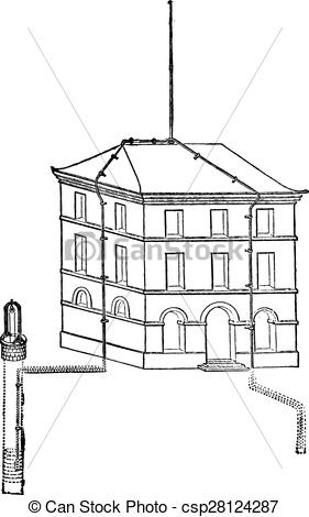Vector of Provision of a lightning rod, mounted on a building.