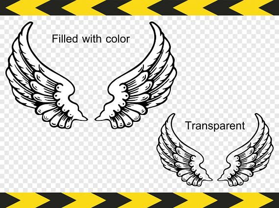 Angel wings SVG files for silhouette Clipart Decal DXF PDF.