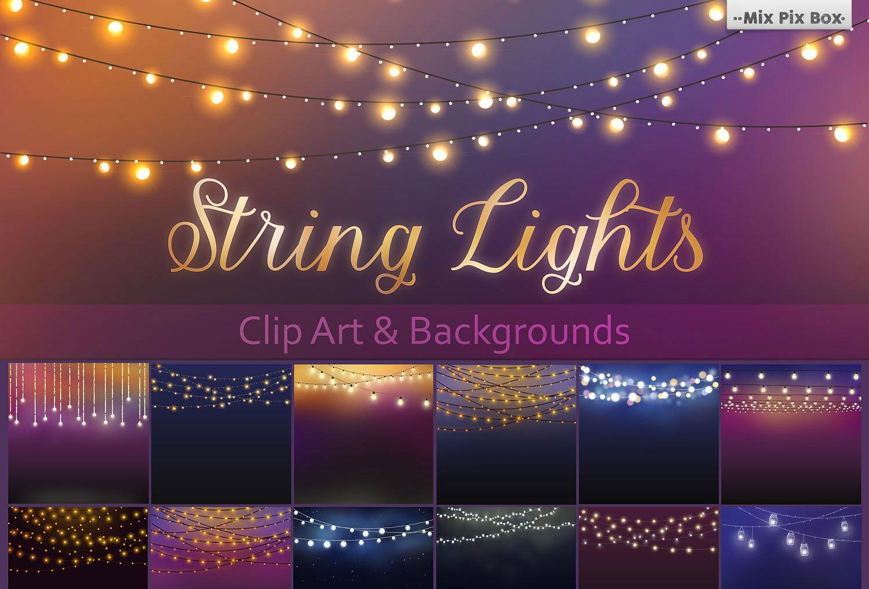String Lights Clip Art + Backgrounds.