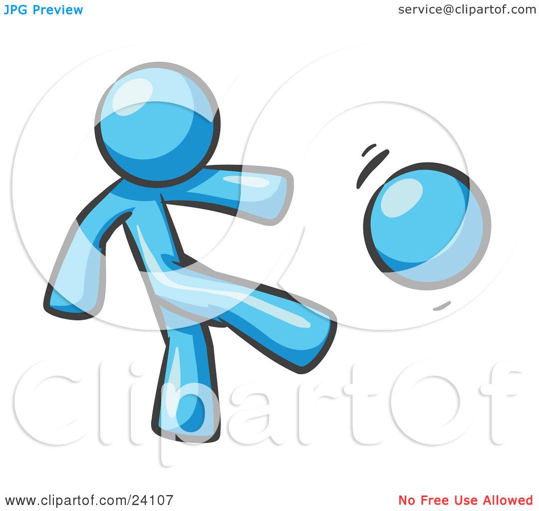 Clipart Illustration of a Light Blue Man Kicking A Ball Really.