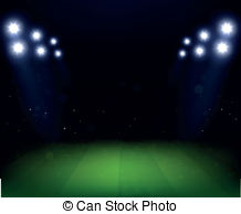 Vector Illustration of Rugby stadium with lights at night. Night.