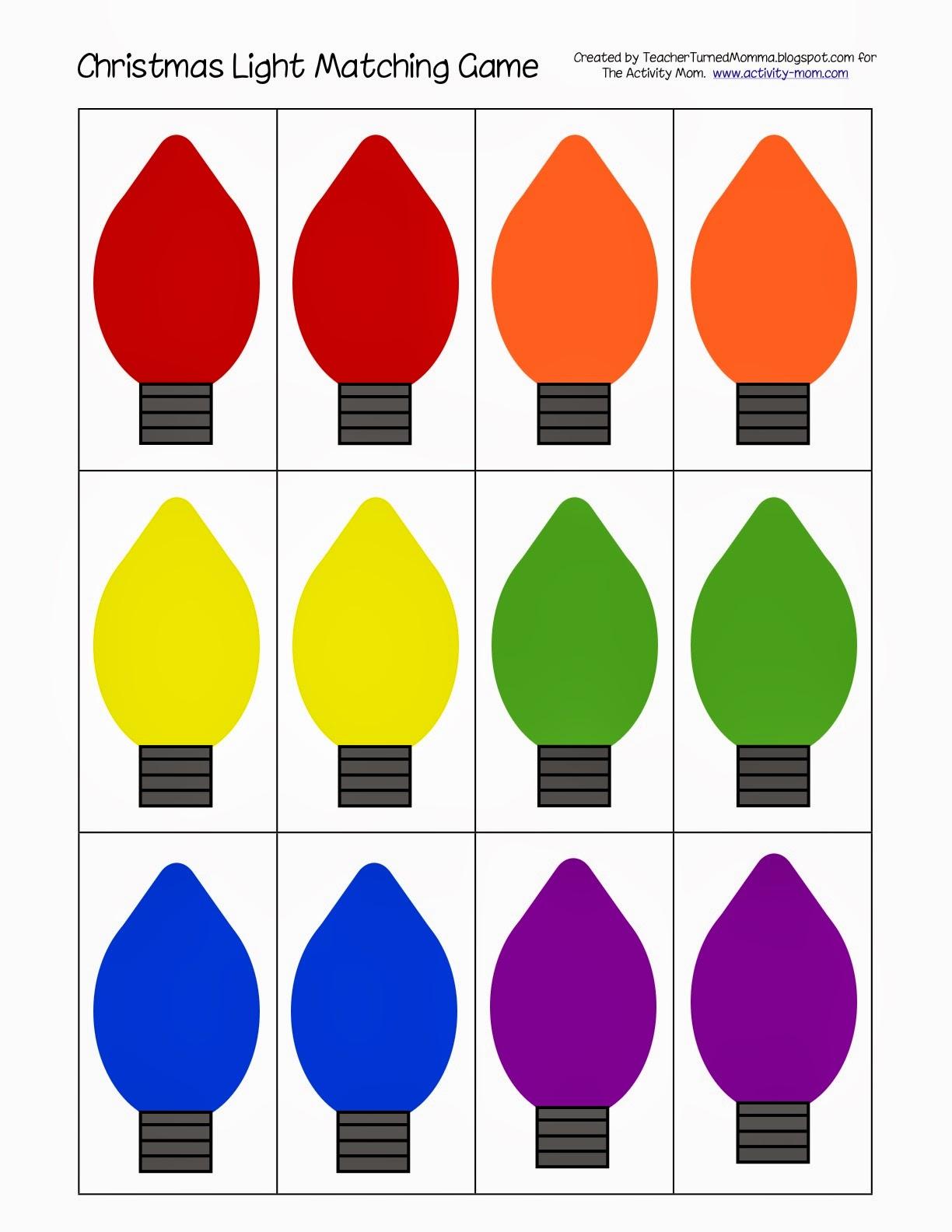 Christmas Light Matching (printable).