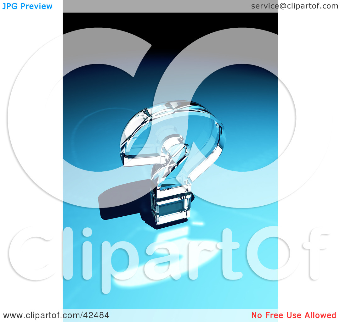 Clipart Illustration of a Shiny Glass Question Mark Reflecting.