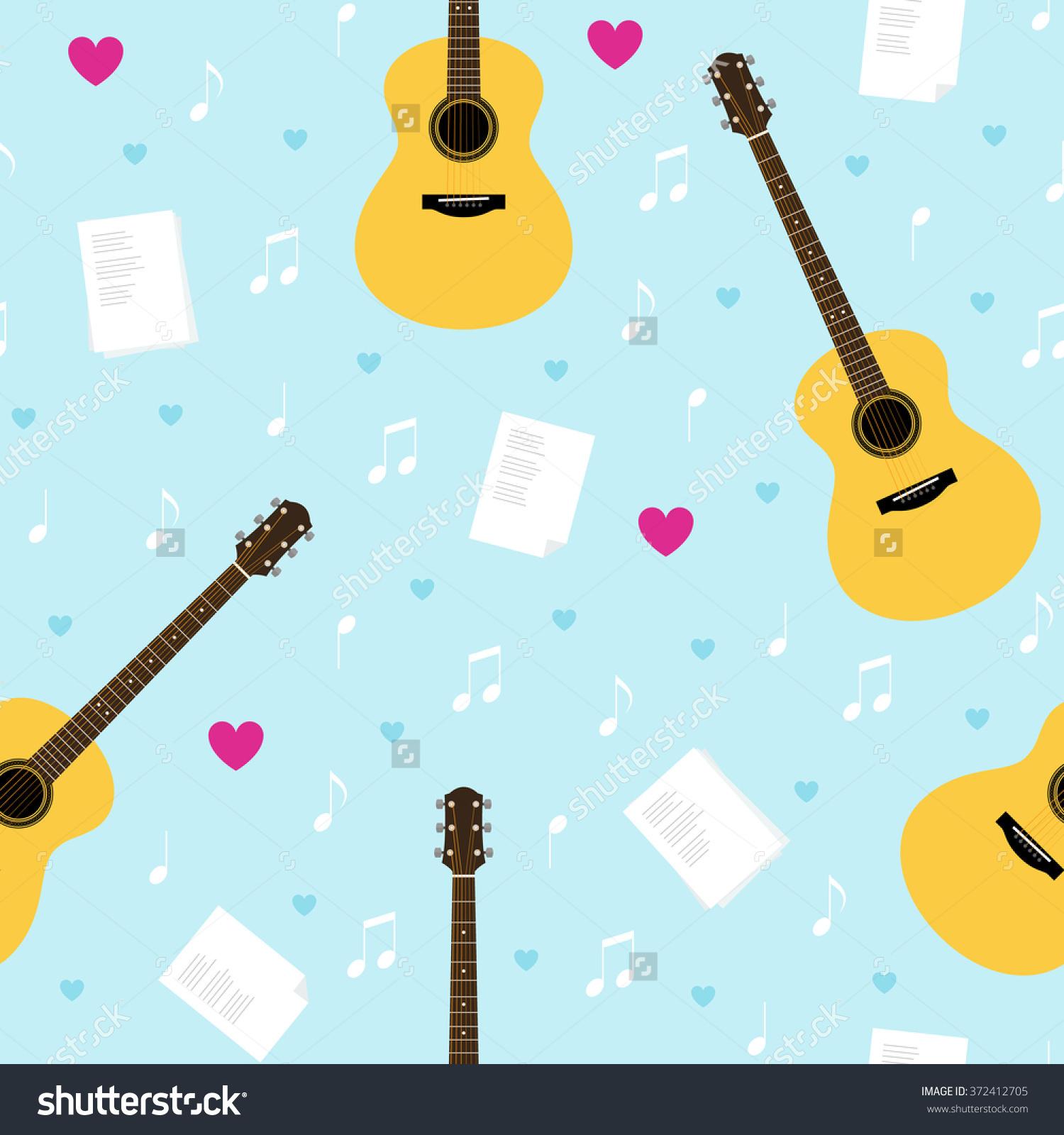 Vector Seamless Pattern Guitars Lyrics Notes Stock Vector.