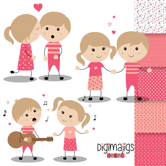 Valentine's Day Boys and Girls Serenade Clipart Kiss by Digimajigs.
