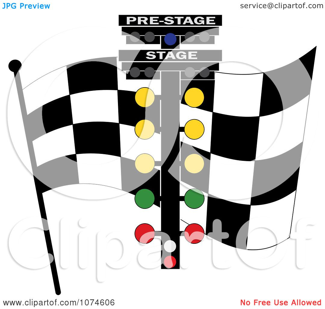 Clipart Checkered Race Flag And Track Lights.