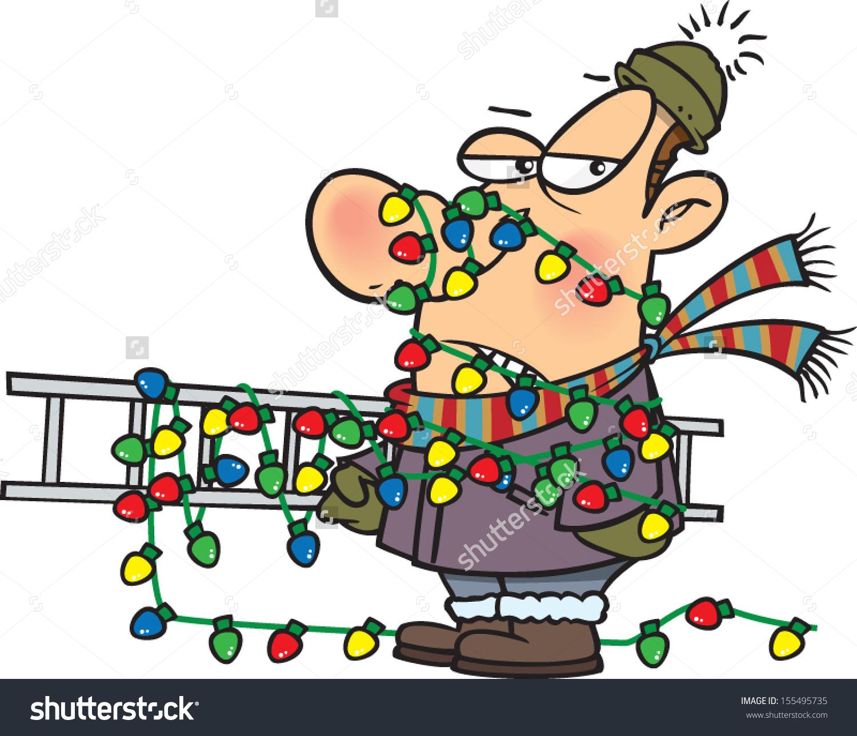 Tangled Christmas Lights Clipart.
