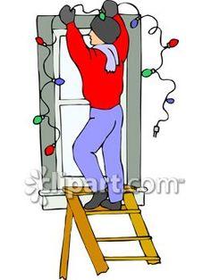 Hanging christmas lights clipart.