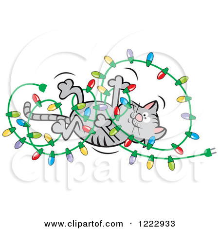 Clipart of a Cat Playing with and Tangling up Christmas Lights.