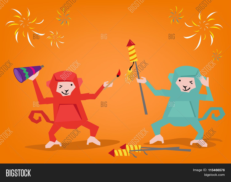 Two Monkeys Lights Up a Fireworks Rocket to Celebrate a Holiday.