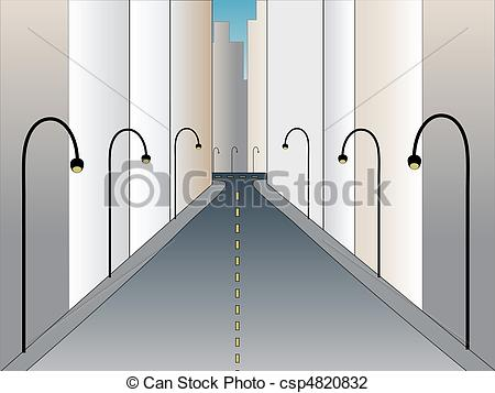 Vector Illustration of Urban street at angle going into ho.