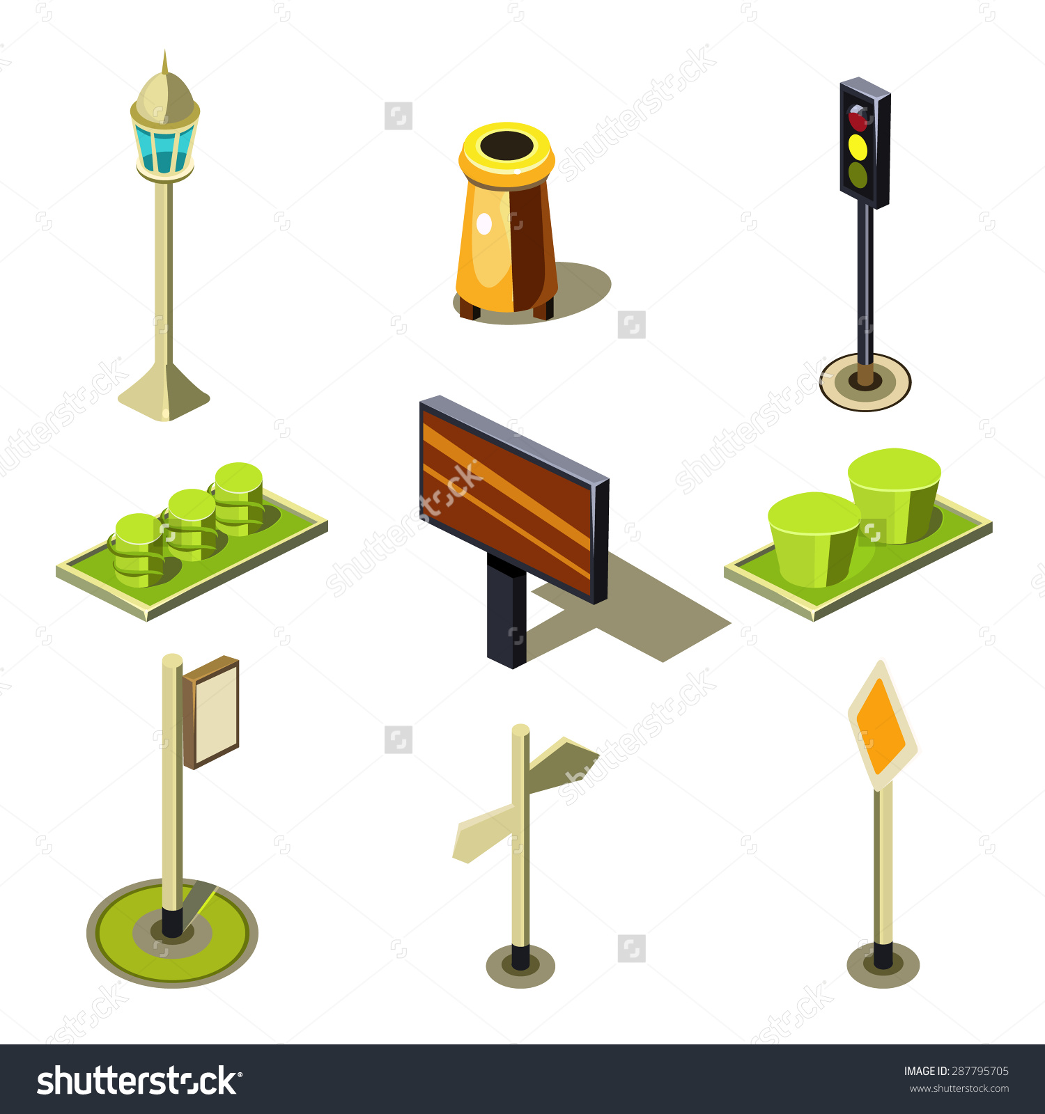 Flat 3d Isometric High Quality City Stock Vector 287795705.