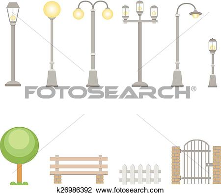 Clipart of Street lights and lamps set . Outdoor elements bench.
