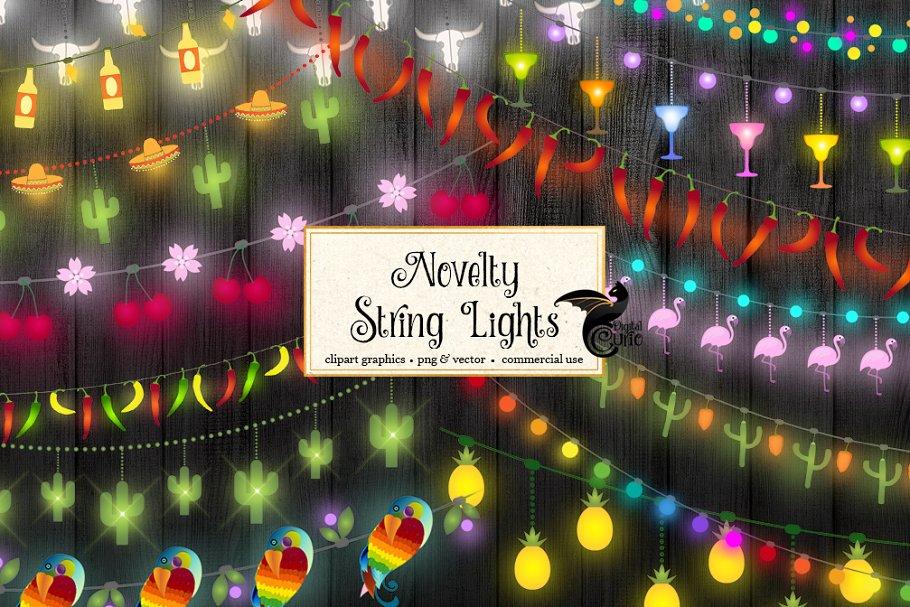 Novelty String Lights Vector Clipart.