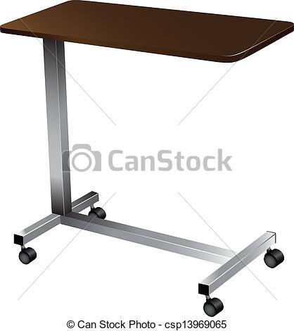 Clip Art Vector of Over Bed Table.