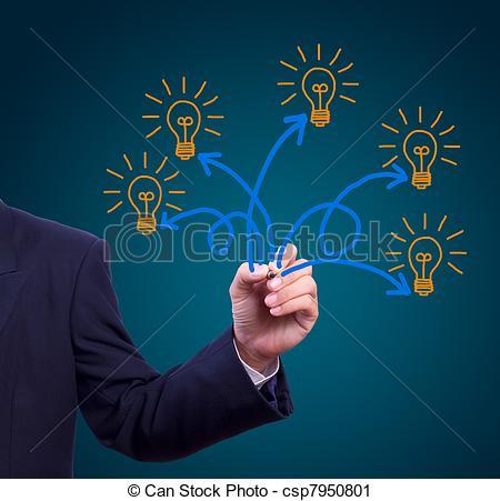 Clipart of many idea light bulb writing by hand csp7950801.