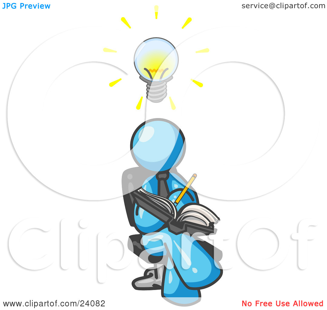 Clipart Illustration of a Smart Light Blue Man Seated With His.