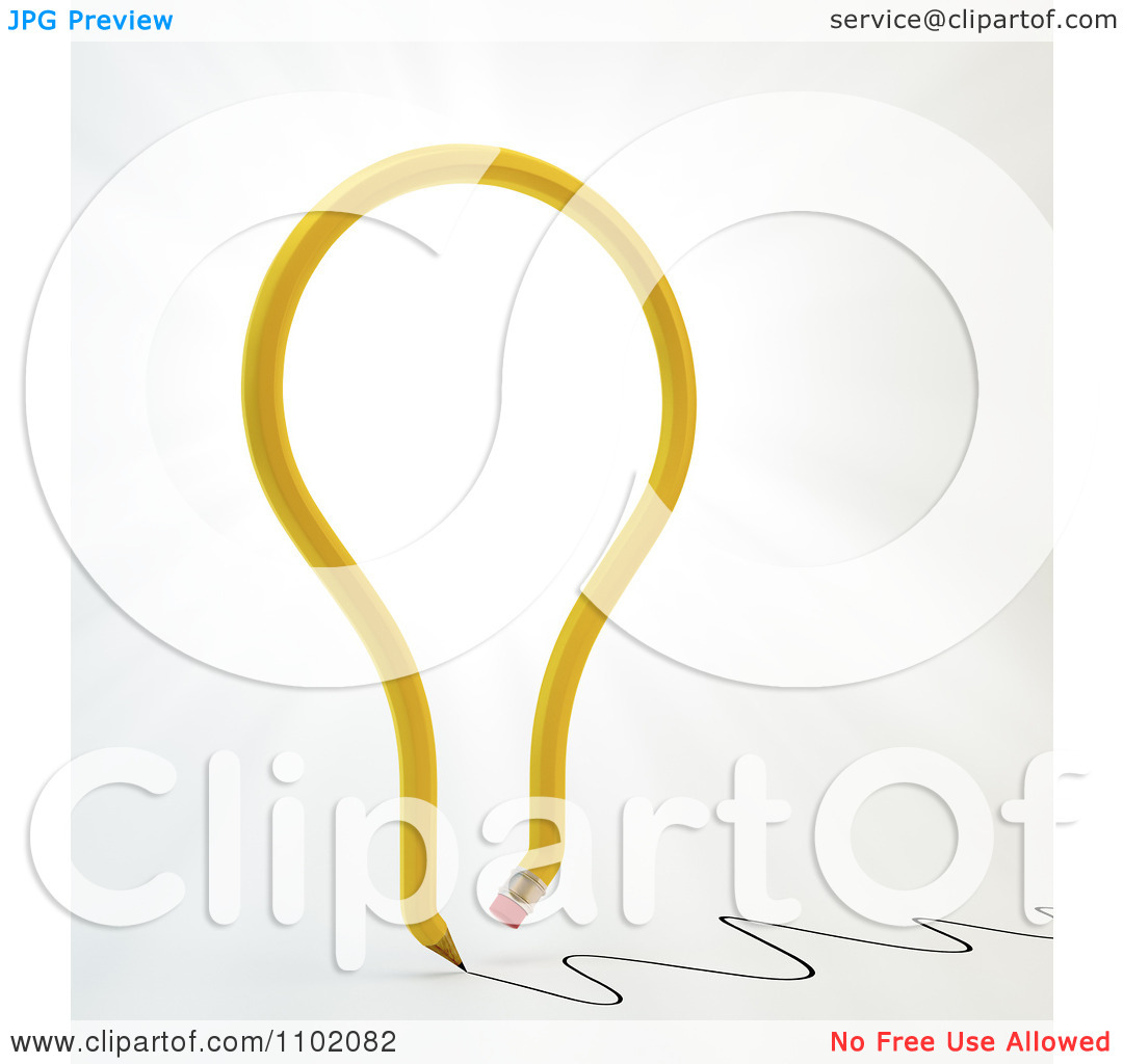 Clipart 3d Yellow Light Bulb Creative Pencil Writing.