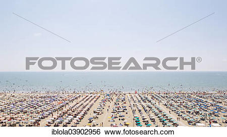 """Stock Images of """"View of a beach with sunshades and sun beds, at."""