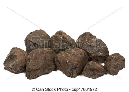 Picture of Lignite coal on a white background. csp17881972.