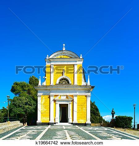 Clip Art of Portofino, San Giorgio catholic church landmark.
