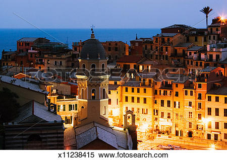 Stock Image of Italy, Liguria, Vernazza, view from Cinque Terre.