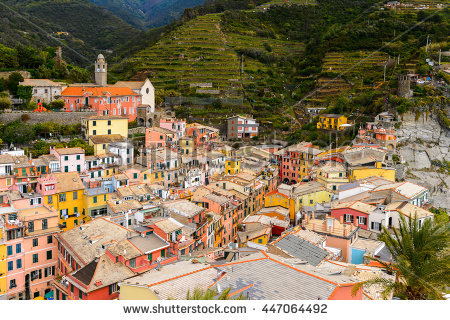 Italian Seaside Village Riomaggiore Cinque Terre Stock Photo.