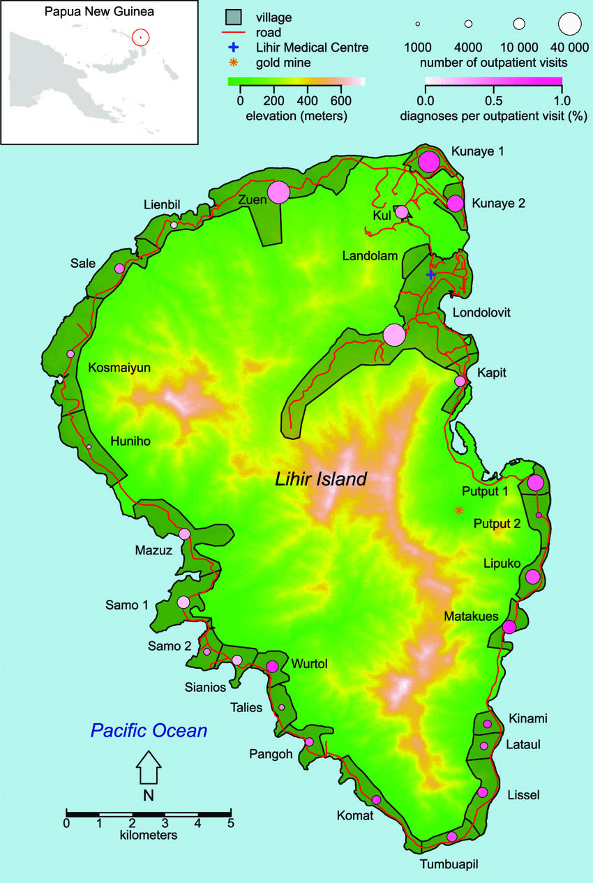 Map of Lihir Island. The top left inset shows the location.