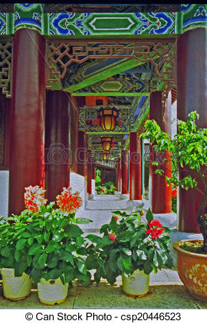 Clip Art of ornamental passageway of palace in lijiang, china, oil.