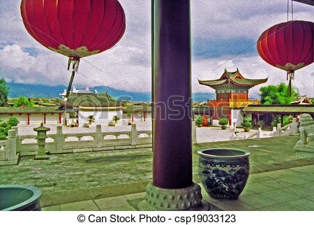 Clip Art of photo of ornamental courtyard of palace in lijiang.