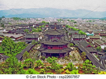 Stock Illustrations of aerial view of palace in lijiang, china.
