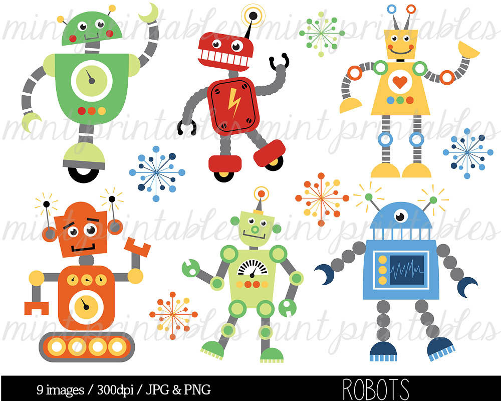 Robot Clipart Digital Robots Clip Art Birthday by mintprintables.