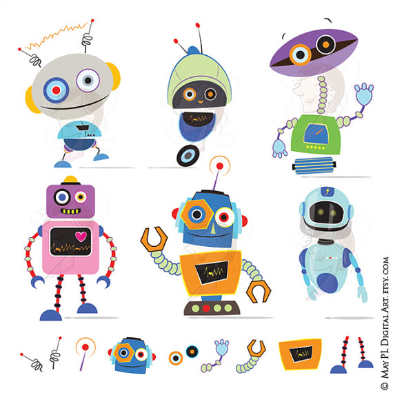 Robot Clipart DIY Party Invitation Cards VECTOR Clip Art Cute.