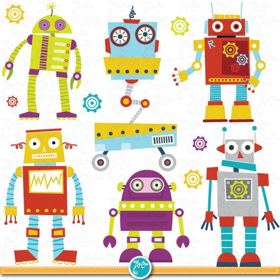 Robots Clipart Pack CUTE ROBOTS digital clip art.