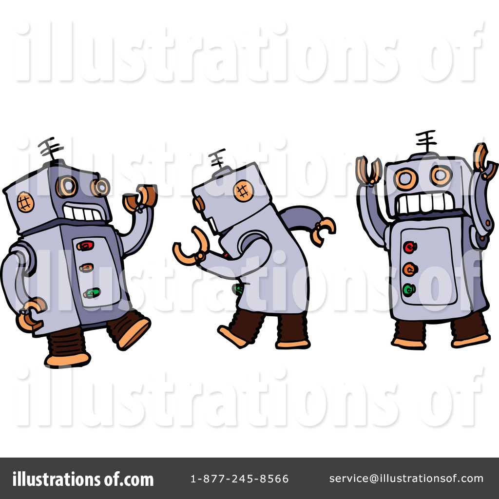 robots clipart clipart of a human like robot pointing and warning.