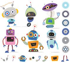 buy 2 get 1 free Cute Robots Creator Kit clip art for personal and.