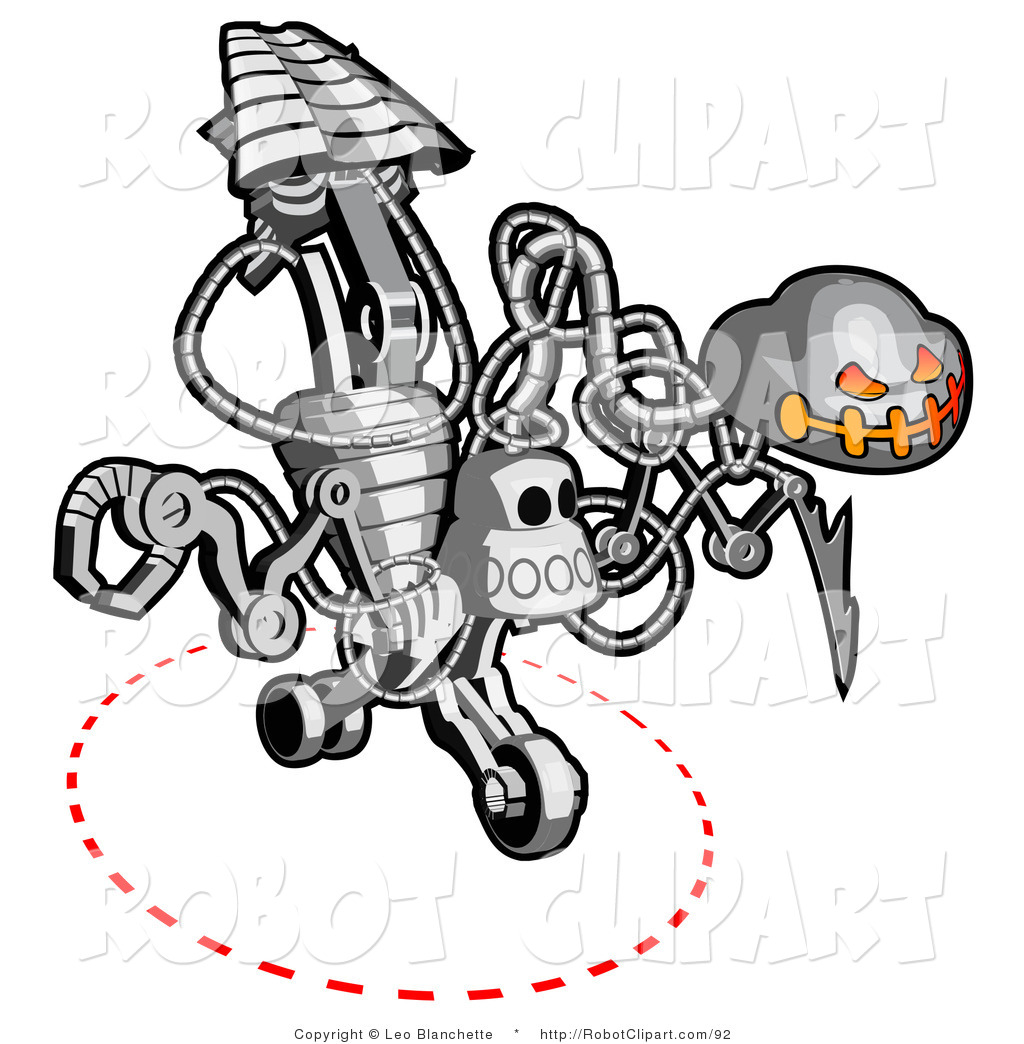 Clipart of a Skeleton like Metallic Robot by Leo Blanchette.