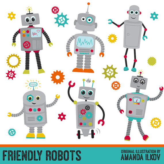 Premium Robots & Gears Clip Art with Vectors Friendly Robot.