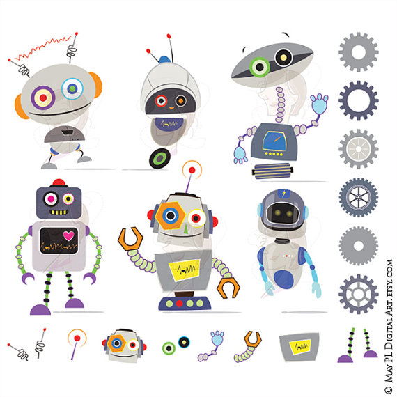 Robots Clip Art Images Cute Grey Gray Robots Birthday by.