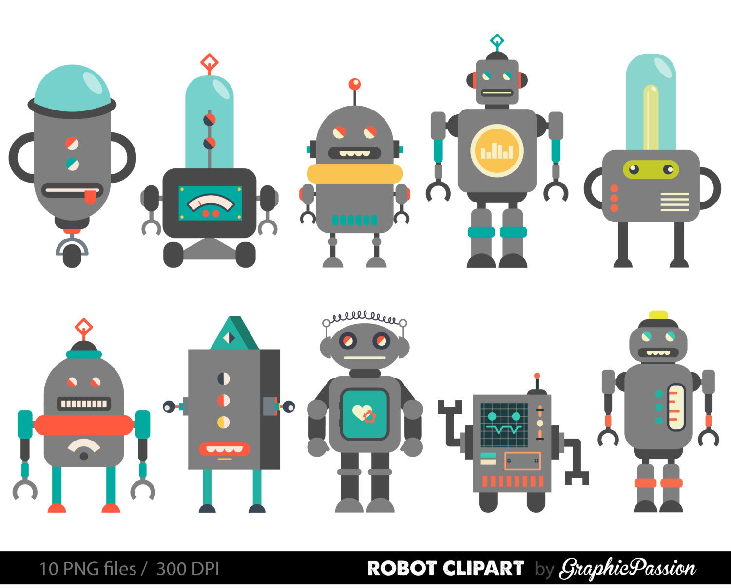 Retro Robot Clipart Robot Clipart Birthday by GraphicPassion.