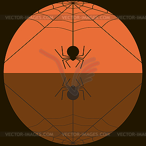 Fat spider spinning web background in black and.