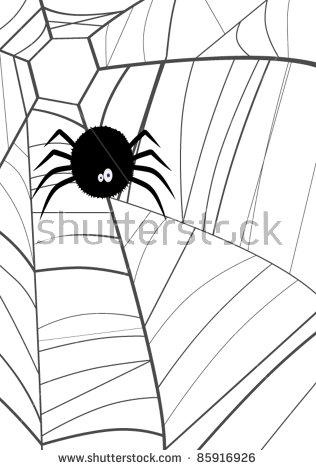 Cartoon Spider Spinning Web Stock Vector 85913650.