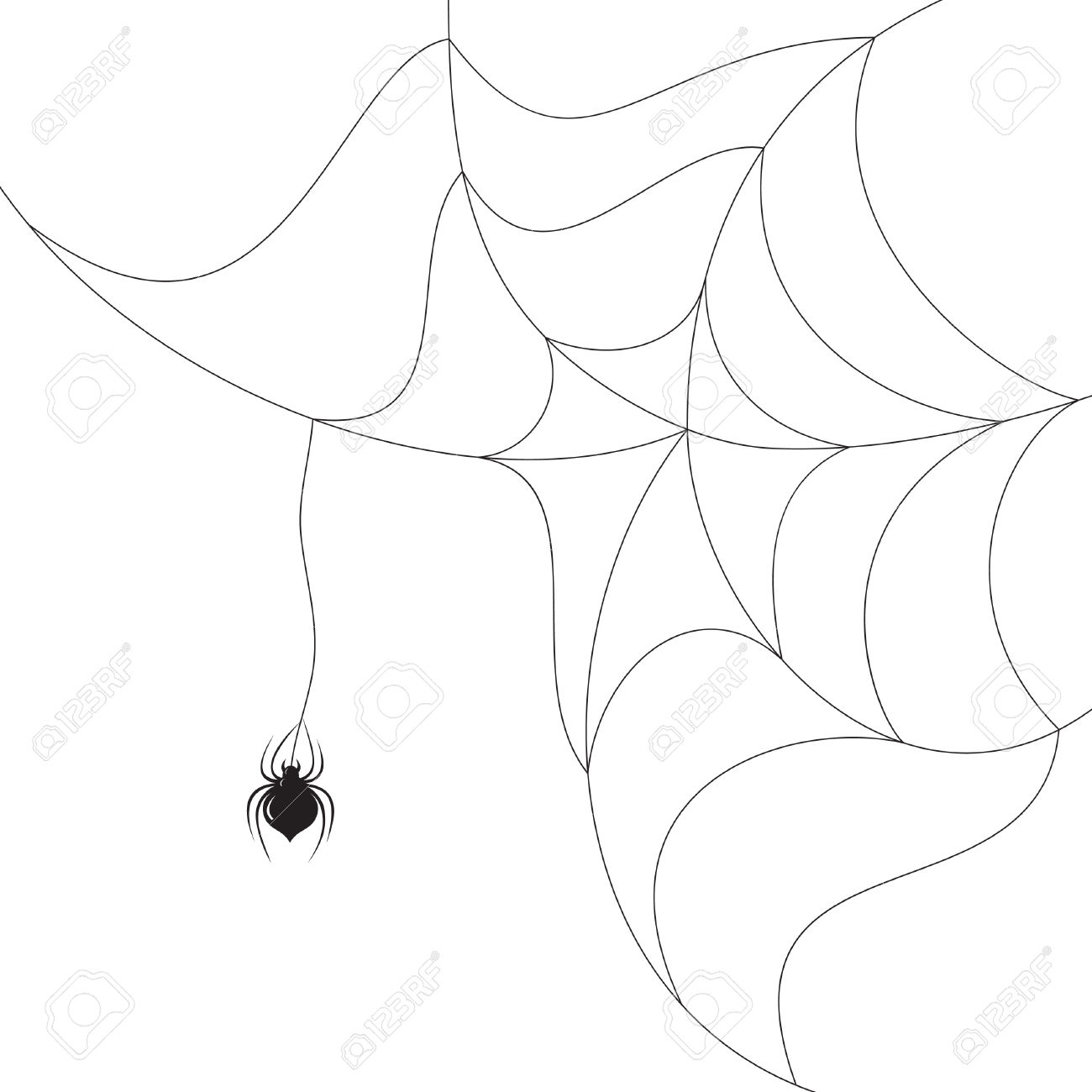 Spider Spinning A Web On White Background Royalty Free Cliparts.