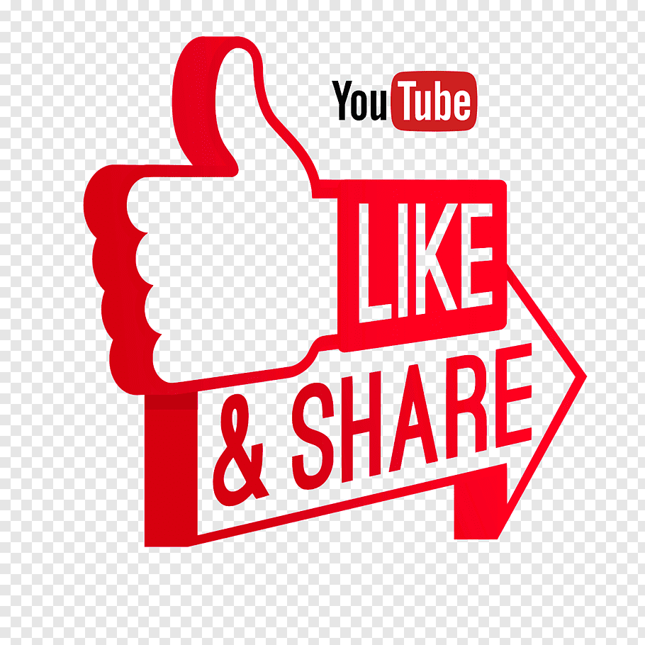 Youtube logo, Like and Share on Youtube free png.