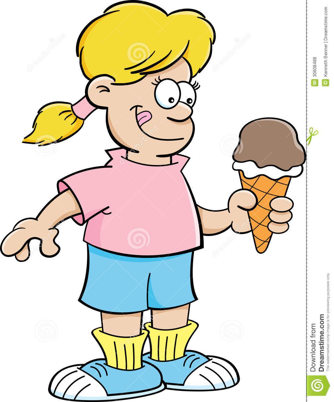 Cartoon Girl Eating An Ice Cream Cone Royalty Free Stock Photos.