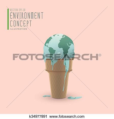 Clipart of Globe melting like ice cream on a cone illustration.
