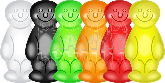 Sweet Jelly Babies Candy Clipart.