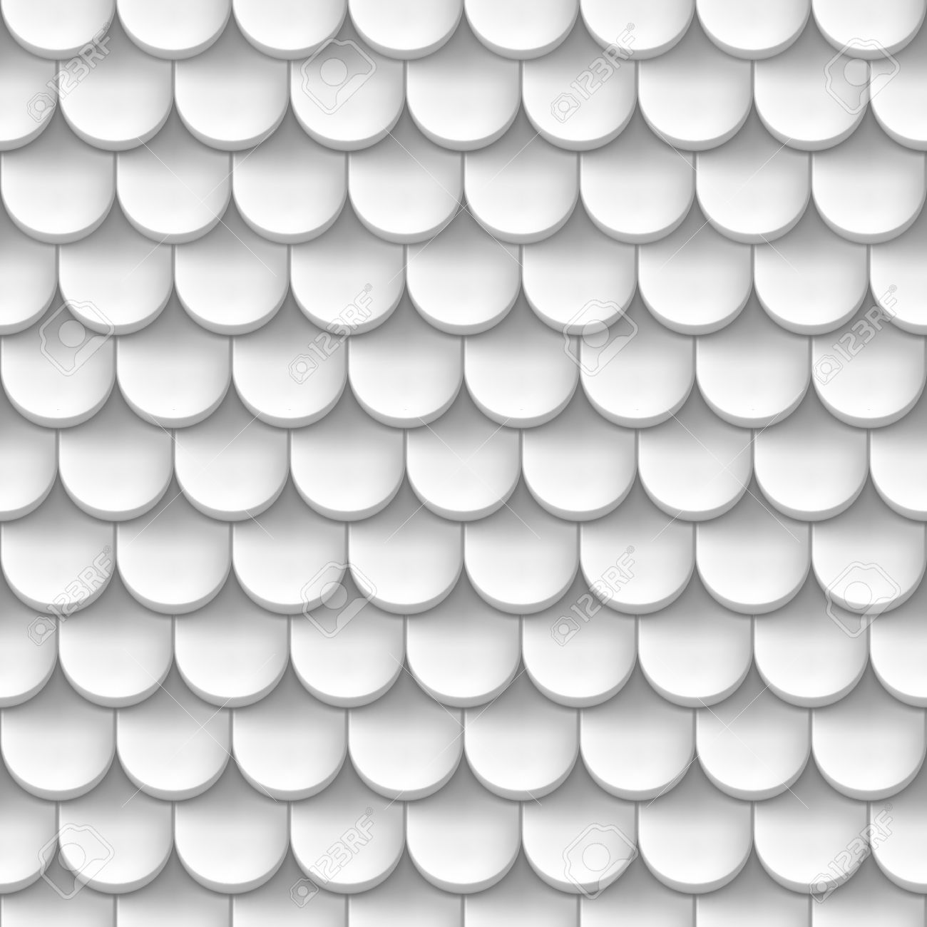 Abstract Background With Roof Tile Pattern In White Color. Royalty.